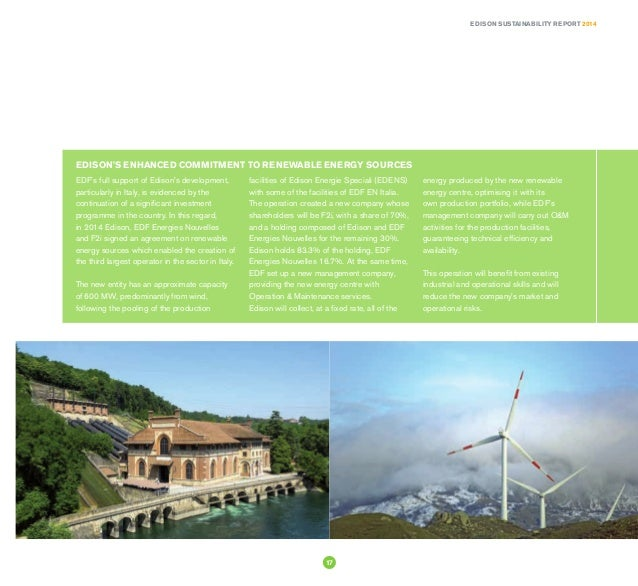 Sustainability report 2014 for Edison energie speciali