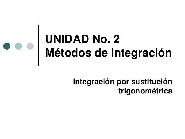 UNIDAD No. 2 Métodos de integración Integración por sustitución trigonométrica