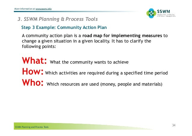 SSWM Planning and Process Tools More information at www.sswm.info 34 Step 3 Example: Community Action Plan A community act...