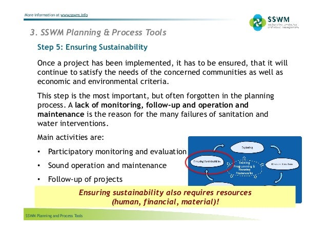 SSWM Planning and Process Tools More information at www.sswm.info Once a project has been implemented, it has to be ensure...