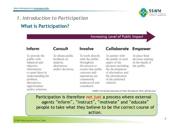 SSWM Planning and Process Tools More information at www.sswm.info 9 What is Participation? 1. Introduction to Participatio...