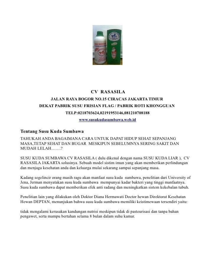CV RASASILA                 JALAN RAYA BOGOR NO.15 CIRACAS JAKARTA TIMUR          DEKAT PABRIK SUSU FRISIAN FLAG / PABRIK ...