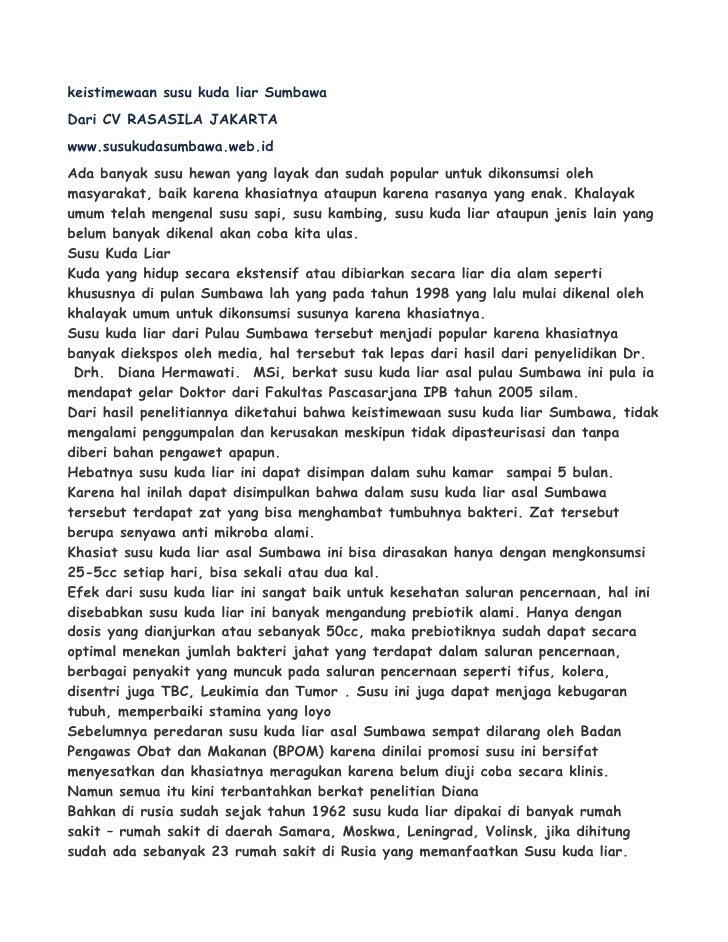keistimewaan susu kuda liar SumbawaDari CV RASASILA JAKARTAwww.susukudasumbawa.web.idAda banyak susu hewan yang layak dan ...
