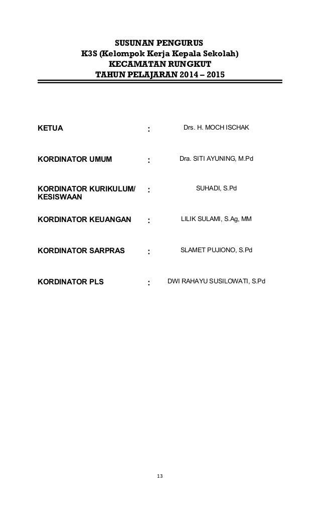 SUSUNAN PENGURUS K3S (Kelompok Kerja Kepala Sekolah) KECAMATAN RUNGKUT TAHUN PELAJARAN 2014 – 2015 KETUA : Drs. H. MOCH IS...