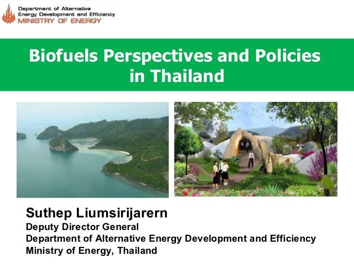 Biofuels Perspectives and Policies  in Thailand Suthep Liumsirijarern Deputy Director General Department of Alternative En...