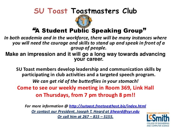 """SU Toast Toastmasters Club            """"A Student Public Speaking Group""""In both academia and in the workforce, there will b..."""