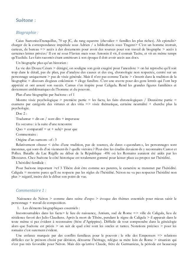 Suétone : Biographie : Caius SuetoniusTranquillus, 70 ap JC, du rang equestre (chevalier = familles les plus riches). Ab e...