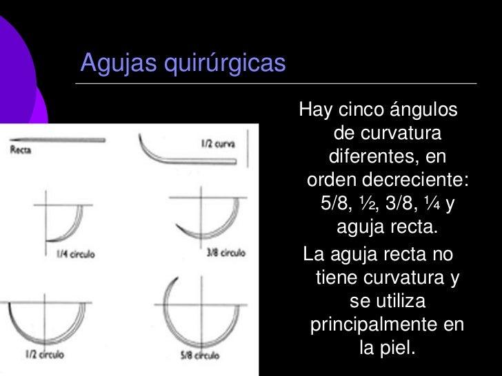 Agujas quirúrgicas                     Hay cinco ángulos                          de curvatura                         dif...