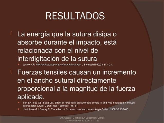 RESULTADOS   La energía que la sutura disipa o    absorbe durante el impacto, está    relacionada con el nivel de    inte...