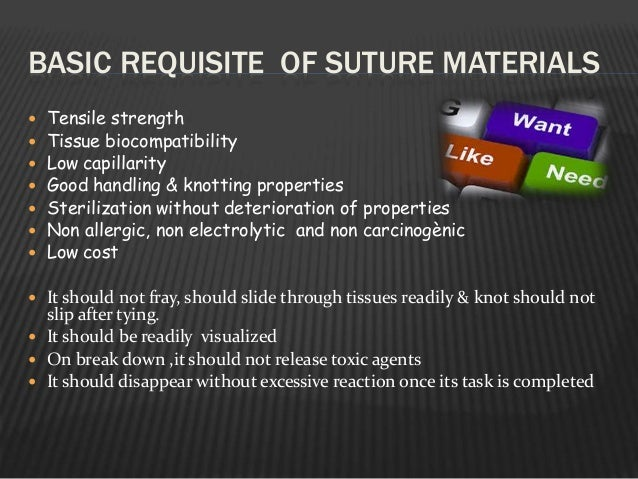 BASIC REQUISITE OF SUTURE MATERIALS  Tensile strength  Tissue biocompatibility  Low capillarity  Good handling & knott...