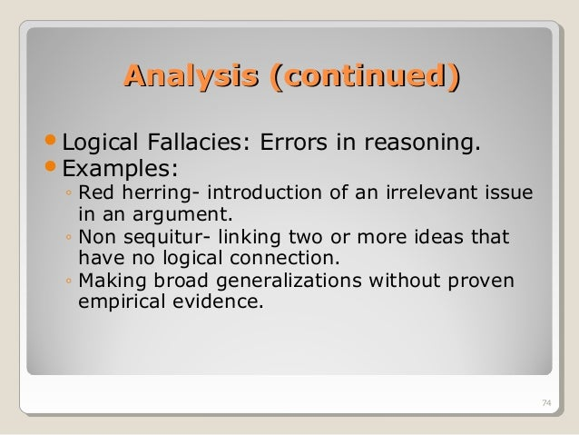 fallacies of irrelevant thesis Ignoratio elenchi is the fallacy involving an irrelevant conclusion and is discussed here as a category for fallacies not identifiable as one of the other fallacies of relevance—a catch-all also sometimes termed as the red herring fallacy.