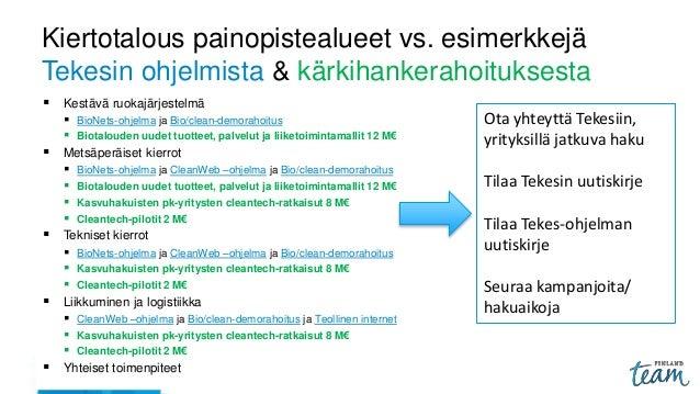 Kiertotalous painopistealueet vs. esimerkkejä Tekesin ohjelmista & kärkihankerahoituksesta  Kestävä ruokajärjestelmä  Bi...