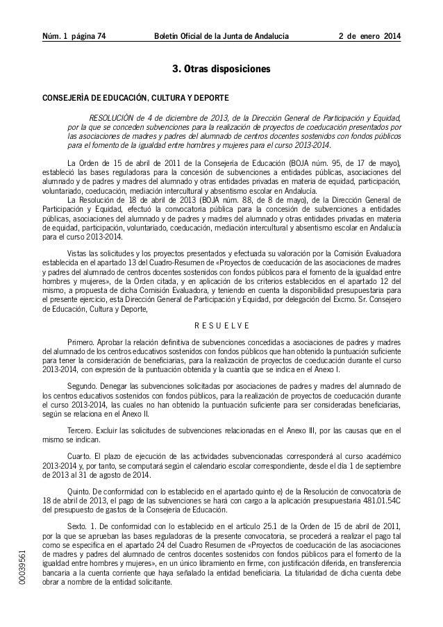Núm. 1 página 74  Boletín Oficial de la Junta de Andalucía  2 de enero 2014  3. Otras disposiciones Consejería de Educ...