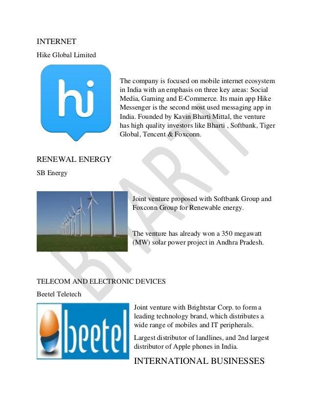 Project report on Bharti enterprise