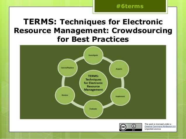TERMS: Techniques for Electronic Resource Management: Crowdsourcing for Best Practices #6terms This work is licensed under...