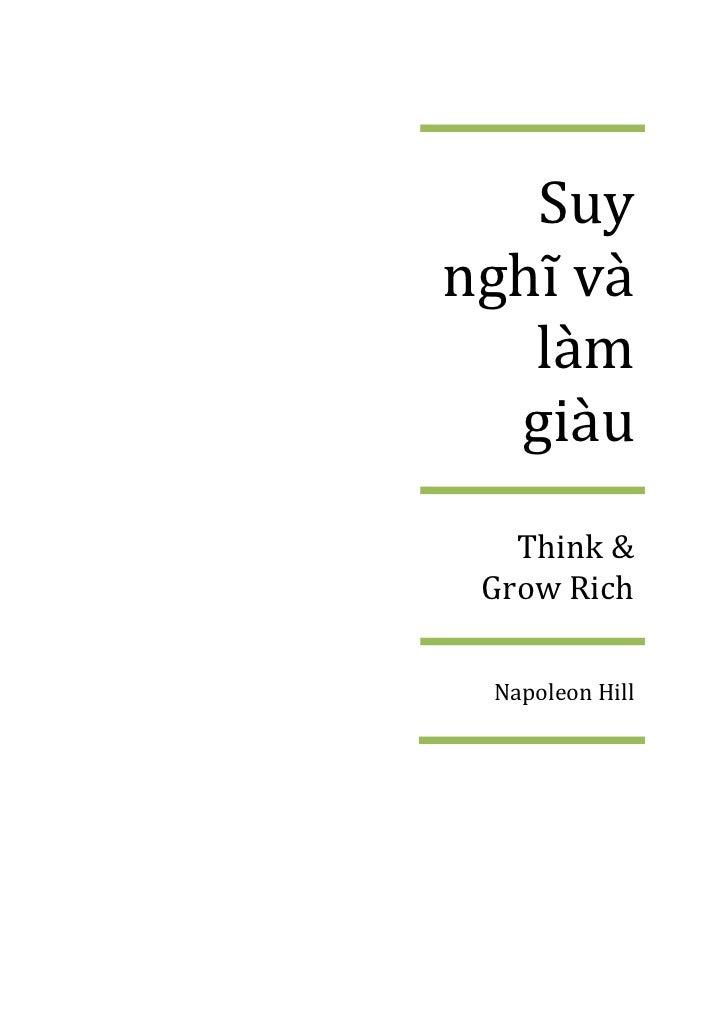 Suynghĩ v{   làm  giàu   Think & Grow Rich Napoleon Hill