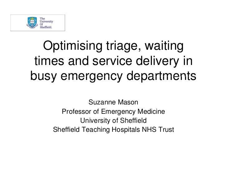 Optimising triage, waiting times and service delivery inbusy emergency departments                Suzanne Mason      Profe...