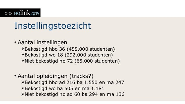 Instellingstoezicht • Aantal instellingen Bekostigd hbo 36 (455.000 studenten) Bekostigd wo 18 (292.000 studenten) Niet...