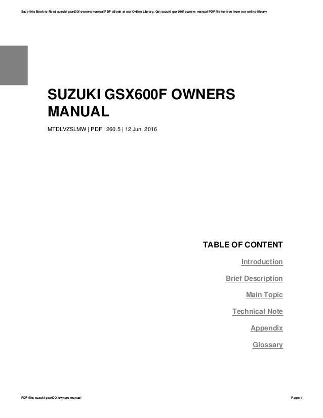 suzuki gsx600f owners manual rh slideshare net suzuki gsx600f user manual suzuki gsx600f service manual