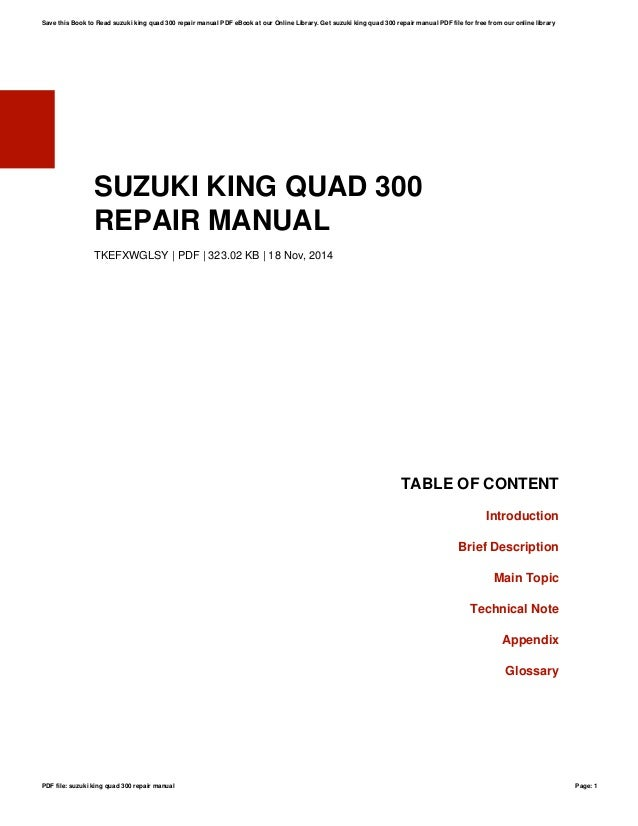 suzuki king quad 300 repair manual rh slideshare net suzuki king quad 300 service manual free download suzuki king quad 300 owners manual pdf