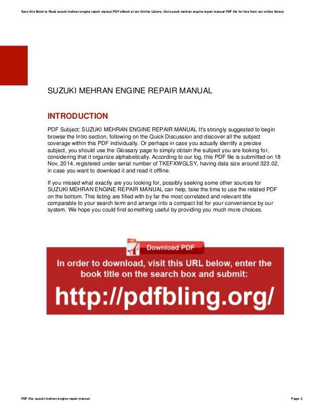 suzuki mehran engine repair manual rh slideshare net Suzuki Alto Suzuki Bolan New Model