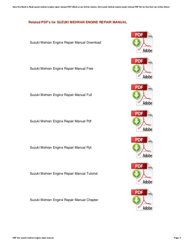 suzuki mehran engine repair manual rh slideshare net www Pak Suzuki Mahran Suzuki Swift