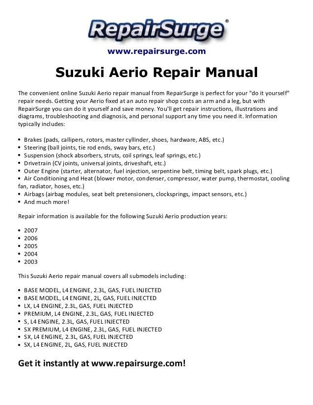 Suzuki Aerio Repair Manual 2003 2007rhslideshare: Starter Location On 2003 Suzuki Aerio Liana At Elf-jo.com