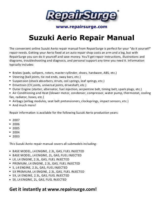 suzuki aerio repair manual 2003 2007 rh slideshare net suzuki aerio manual 2006 suzuki aerio manual book