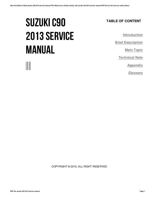 Suzuki c90 2013 service manual