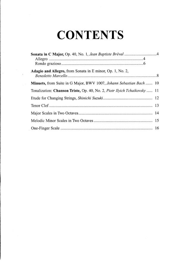 Suzuki Cello School Volume  Table Of Contents