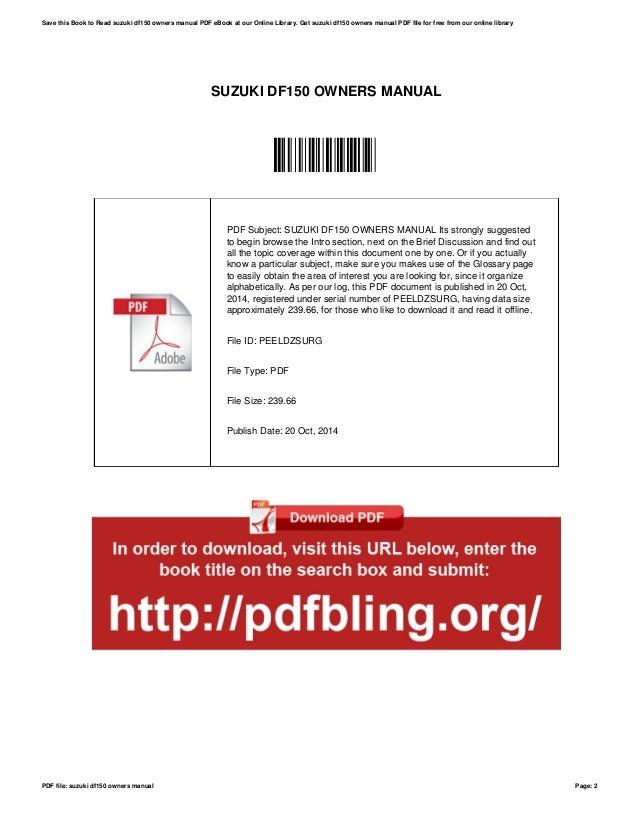 suzuki df150 owners manual rh slideshare net suzuki df 150 repair manual suzuki df150 service manual pdf
