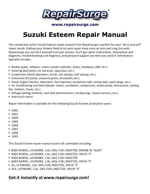 suzuki esteem repair manual 1995 2002 rh slideshare net 2001 Suzuki Esteem Upgrade Tires for 2001 Suzuki Esteem