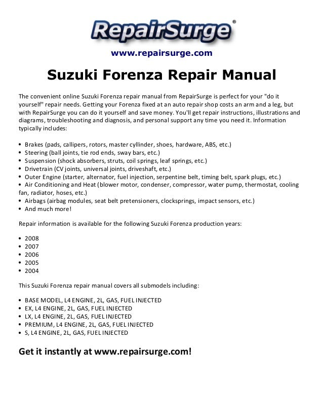 suzuki forenza repair manual 2004 2008 rh slideshare net 2007 suzuki forenza repair manual 2008 suzuki forenza repair manual free