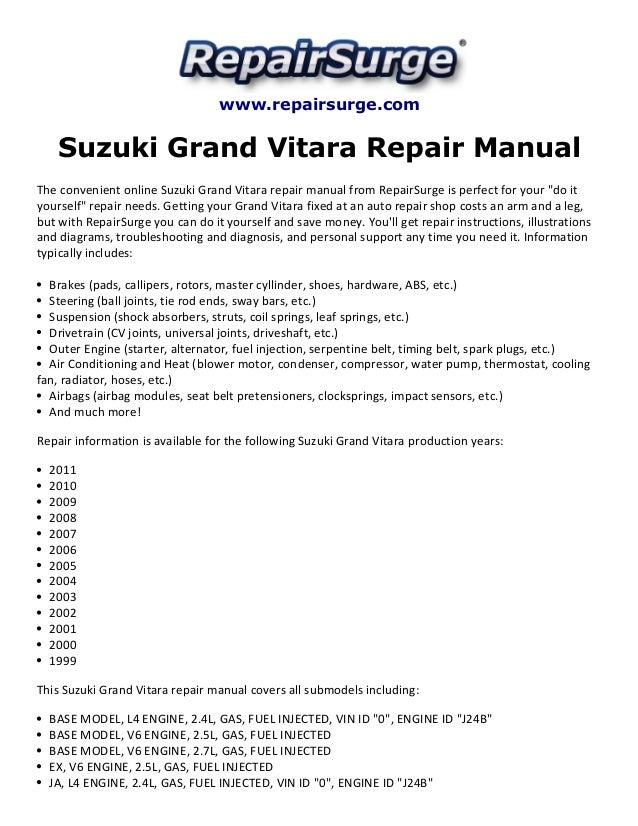 Suzuki Grand Vitara Repair Manual 1999 2011. Repairsurge Suzuki Grand Vitara Repair Manual The Convenient Online Ja V6 Engine. Suzuki. 2008 Suzuki Grand Vitara Water Pump Diagram At Scoala.co