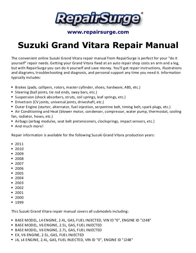 suzuki grand vitara repair manual 1999 2011 rh slideshare net suzuki grand vitara 1999 workshop manual 1999 suzuki grand vitara service manual