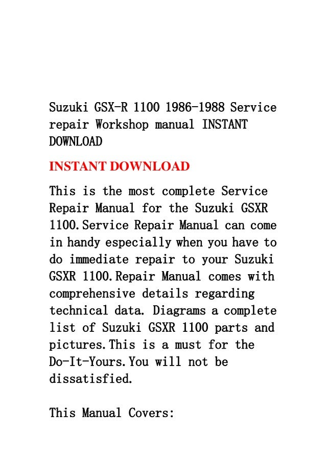 Suzuki gsx r 1100 1986-1988 service repair workshop manual instant do…