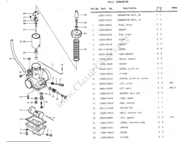 Suzuki gt500 gt 500 illustrated parts list diagram manual