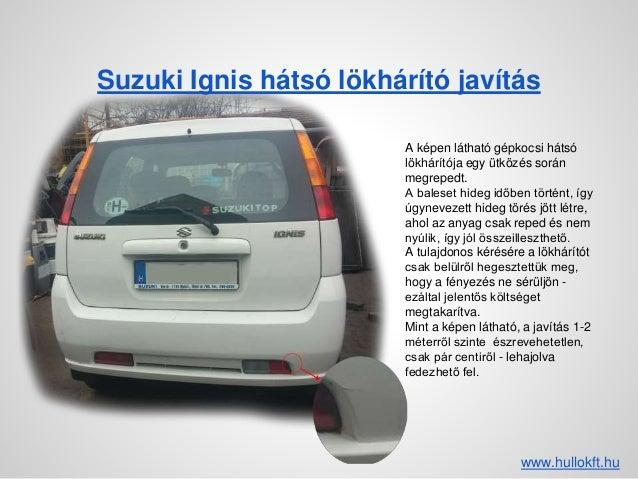 Suzuki Ignis hátsó lökhárító javítás A képen látható gépkocsi hátsó lökhárítója egy ütközés során megrepedt. A baleset hid...