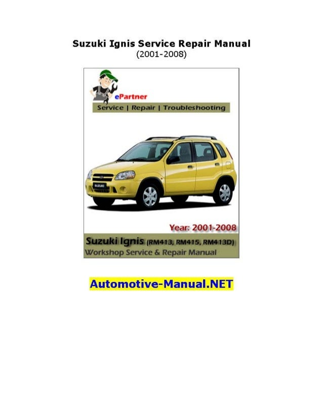 Suzuki Ignis Service Repair Manual 2001 2008