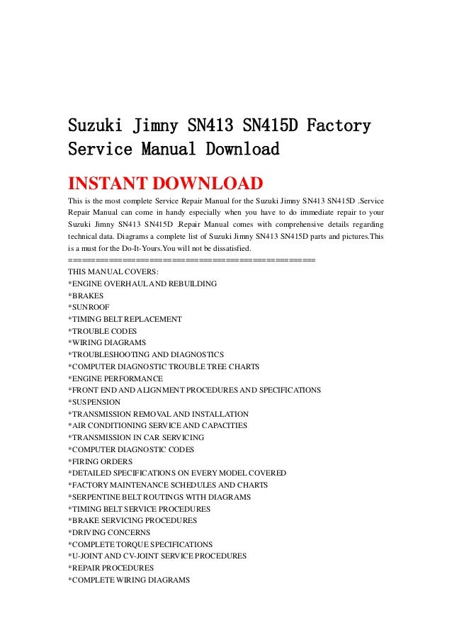 Suzuki Jimny Sn413 Sn415 D Factory Service Manual Download