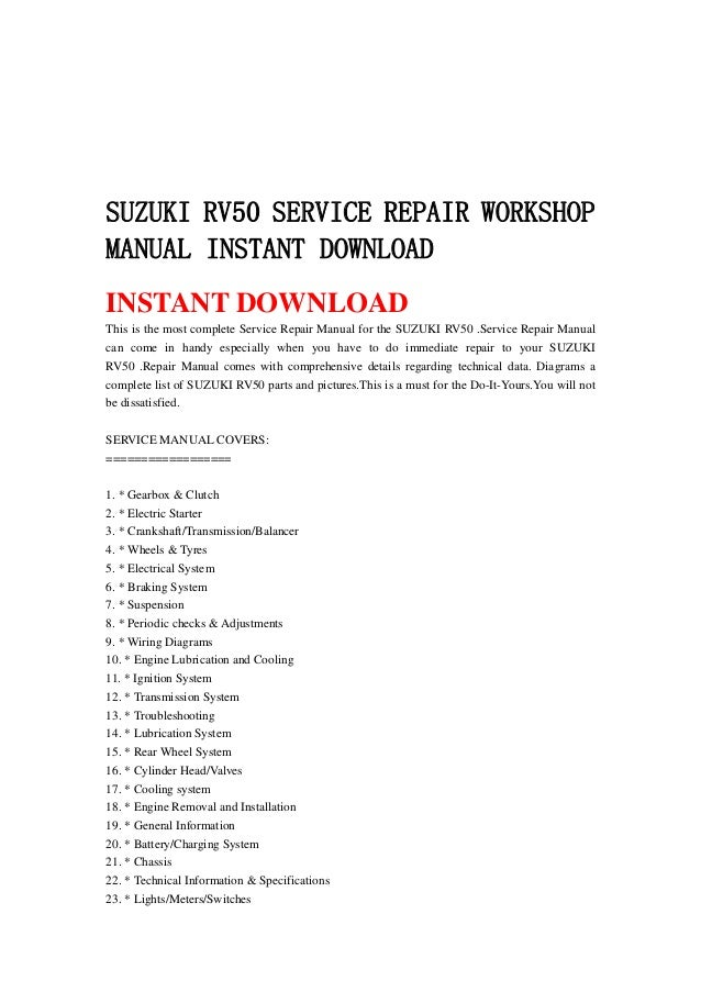 suzuki rv 50 wiring diagram suzuki rv50 service repair workshop manual instant download  suzuki rv50 service repair workshop