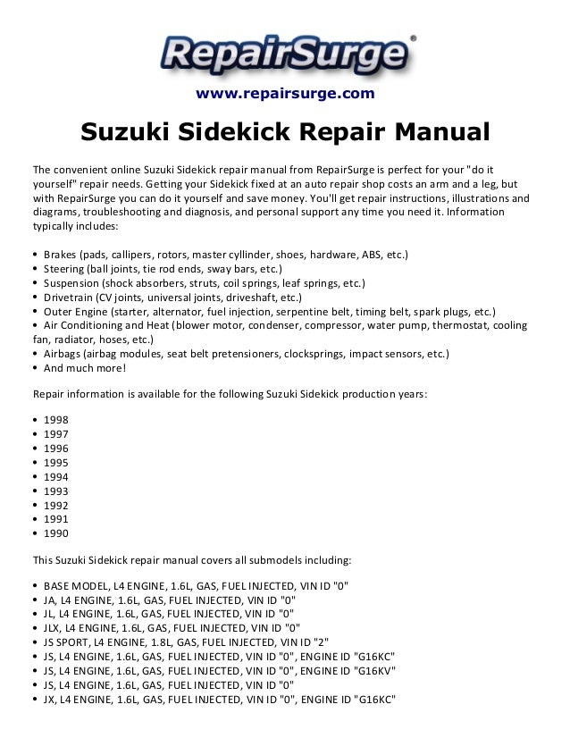 suzuki sidekick repair manual 1990 1998 rh slideshare net 1997 suzuki sidekick repair manual pdf suzuki sidekick repair manual free download