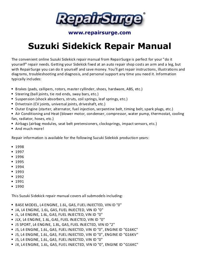 suzuki sidekick repair manual 1990 1998  slideshare