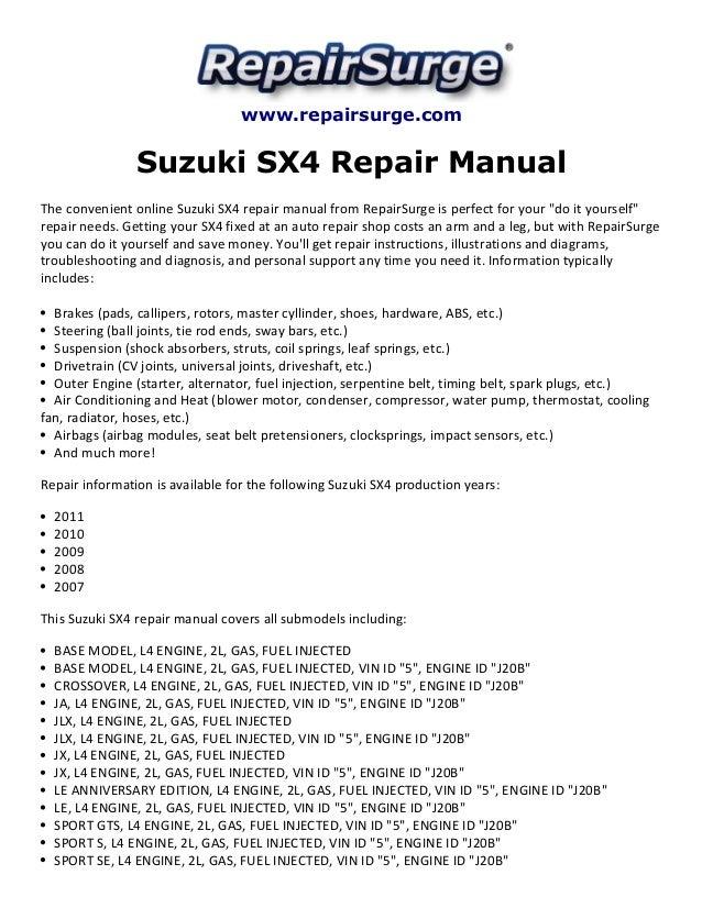 suzuki sx4 repair manual 2007 2011 rh slideshare net suzuki sx4 service manual pdf suzuki sx4 service manual 2011