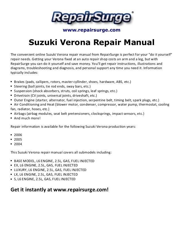 suzuki verona repair manual 2004 2006 rh slideshare net suzuki verona repair manual 2004 suzuki verona repair manual