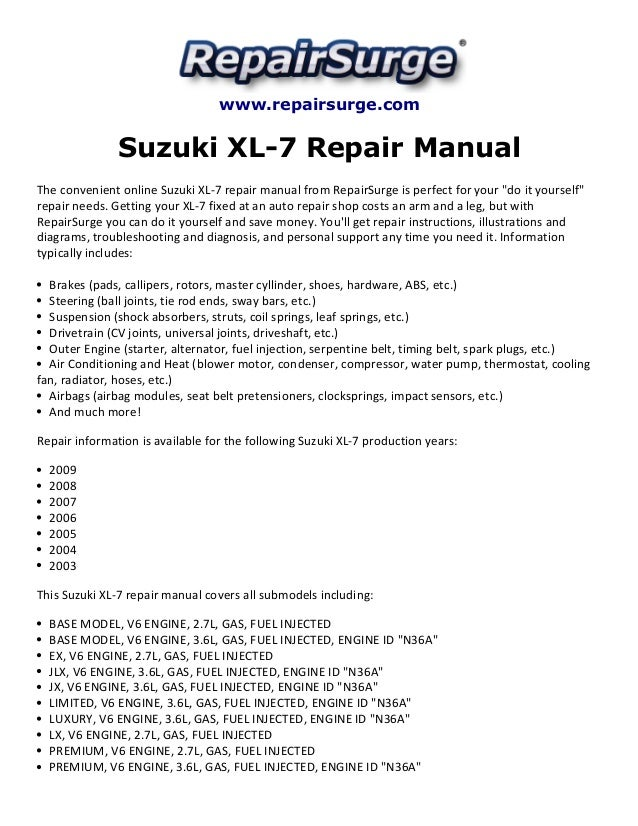 suzuki xl 7 repair manual 2003 2009 rh slideshare net 2005 Suzuki Forenza 2001 Suzuki XL7