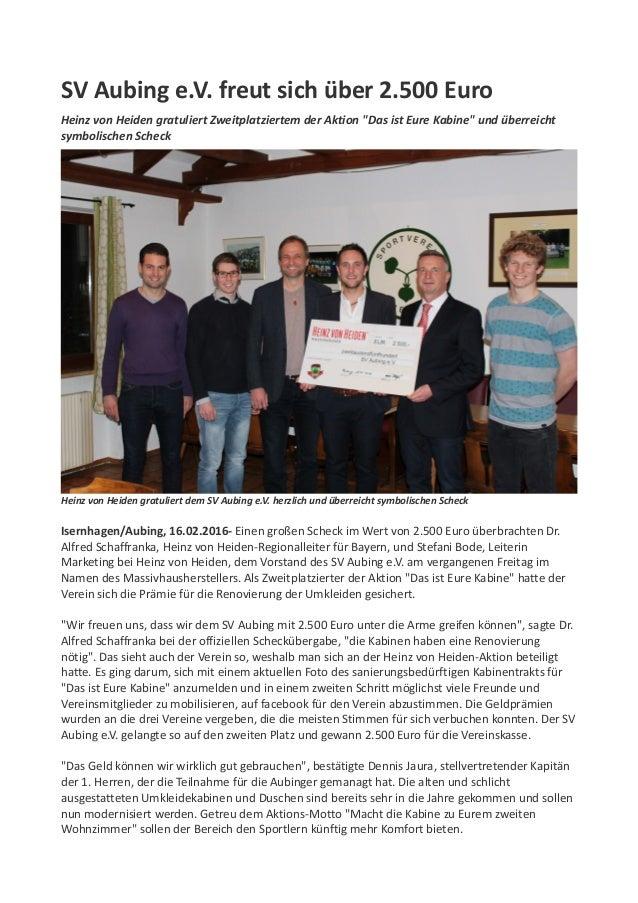 """SV Aubing e.V. freut sich über 2.500 Euro Heinz von Heiden gratuliert Zweitplatziertem der Aktion """"Das ist Eure Kabine"""" un..."""
