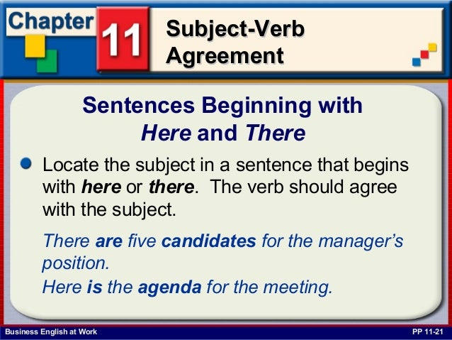 Subject verb agreement mcgraw hill 24 business english at work subject verbsubject verb agreementagreement sentences beginning with here and there platinumwayz