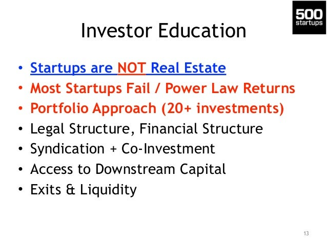 Investor Education • Startups are NOT Real Estate • Most Startups Fail / Power Law Returns • Portfolio Approach (20+ inves...