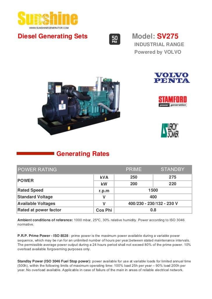Diesel Generating Sets                                                   Model: SV275                                     ...